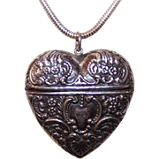 Vintage STERLING SILVER Repousse Heart Container - Pendant or Chatelaine Piece!