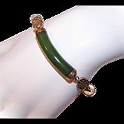 Vintage 14K Gold & NEPHRITE JADE Link Bracelet!