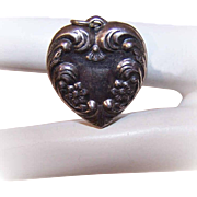 Vintage STERLING SILVER Repousse Puffy Heart Charm!