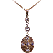 Old Store Stock! Art Deco 14K Gold & .28CT TW Diamond Lavaliere!