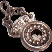 RARE Sterling Silver Charm - CBS Radio Microphone!