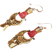 ANTIQUE VICTORIAN Gold Filled & Carved Coral Hand Earrings with MOVIE STAR Provenance!