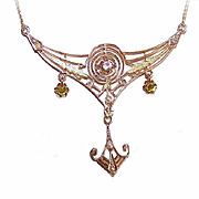 ART DECO 14K Gold, Glass Paste, Peridot & Natural Pearl Filigree Necklace!