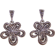 Vintage STERLING SILVER & Marcasite Floral Drop Earrings!