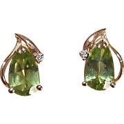 Vintage 14K Gold, 1.52CT TW Peridot & Diamond Accent Pierced Earrings!