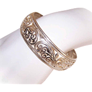 Vintage STERLING SILVER Cuff Bracelet with Curlicue Overlay Design!