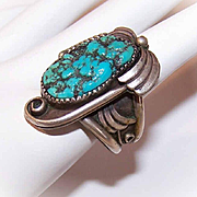 Vintage NATIVE AMERICAN Sterling Silver & Natural Turquoise Nugget Ring!