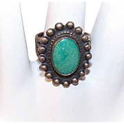 Vintage FRED HARVEY Era Sterling Silver & Oval Turquoise Native American Ring!
