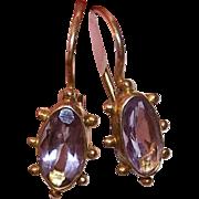 VICTORIAN REVIVAL Sterling Silver Vermeil & Amethyst Pierced Earrings!