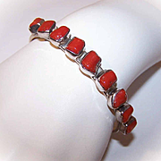 Vintage STERLING SILVER & Red Coral Cuff Bracelet by Delbert Delgarito!