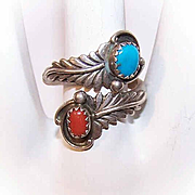 Vintage NATIVE AMERICAN Sterling Silver, Turquoise & Coral Ring!