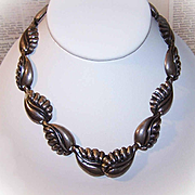 "Vintage NAPIER Sterling Silver ""Stylized Leaf"" Link Necklace!"