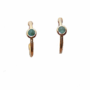 Vintage STERLING SILVER Vermeil & Emerald Hoop Earrings!