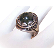Lovely ARTS & CRAFTS Sterling Silver & Moss Agate Ring!