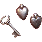 Vintage Group of ROMANTIC Sterling Silver Charms - 2 Hearts & a Key!
