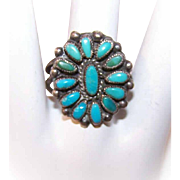 Vintage STERLING SILVER & Petit Point Turquoise Ring by Valentino/Matilda Banteah, Zuni!