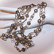 "Vintage MIDDLE EAST 72"" Silver Link Chain Necklace!"