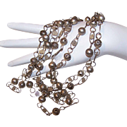 """Vintage MIDDLE EAST 72"""" Silver Link Chain Necklace!"""