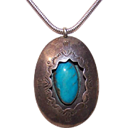 Large NATIVE AMERICAN Sterling Silver & Turquoise Shadow Box Pendant!