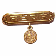 Vintage FRENCH Gold Filled BEBE Pin for Birth/Christening or First Communion!