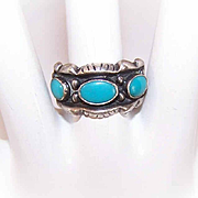 Vintage STERLING SILVER & 3-Stone Faux Turquoise Cab Ring!