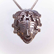 Vintage LOS BALLESTEROS Sterling Silver Pin/Pendant Combo - Tribal Face!