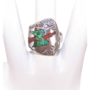 Vintage NATIVE AMERICAN Sterling Silver & Turquoise/Red Coral Inlay Ring!