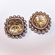 STEPHEN DWECK Sterling Silver Clipback Earrings w/Carved Citrine Centers!