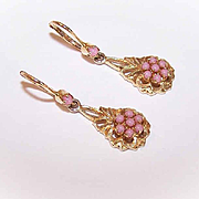 VINTAGE European 18K Gold & Angelskin Coral Drop Earrings!