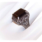 Vintage STERLING SILVER & Garnet Glass Filigree Ring!