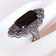Art Deco Revival STERLING SILVER, Black Onyx & Marcasite Ring!