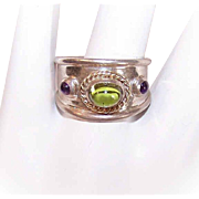 Vintage ANITA SELINGER 14K Gold, Sterling Silver, Peridot & Amethyst Ring!