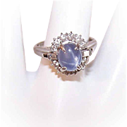Vintage PLATINUM, 1.80CT TW Blue Star Sapphire & Diamond Engagement Ring!
