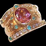 ESTATE 18K Gold, 3.48CT TW Pink Tourmaline, Diamond & Emerald Necklace Enhancer/Slide!
