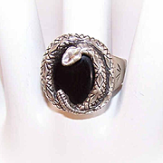 Vintage STERLING SILVER & Black Onyx Snake Ring!