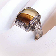 ART DECO Ostby & Barton Sterling Silver & Agate Ring!