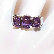 Vintage STERLING SILVER & Amethyst Fashion Ring!