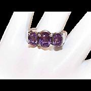 Vintage STERLING SILVER & Amethyst Fashion Ring!