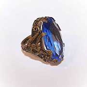 Vintage UNCAS Brass & Blue Paste (Peking Glass) RIng with Dragon Design!