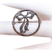 Vintage STERLING SILVER & Rhinestone Bow Beauty Pin!