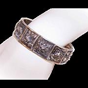 Vintage STERLING SILVER Hinged Bangle Bracelet - Repousse Front!