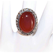 ART DECO Revival Sterling Silver, Carnelian & Marcasite Fashion Ring!