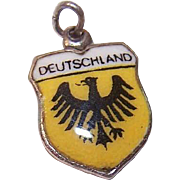 Vintage REU 800 Silver Travel Shield Charm - Germany/Deutschland!