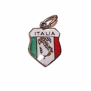 Vintage STERLING SILVER Travel Shield Charm - Italy!