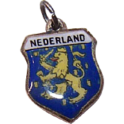Vintage ANTICO 800 Silver Travel Shield Charm - The Netherlands!