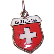 Vintage REU 800 Silver Travel Shield Charm - Switzerland!