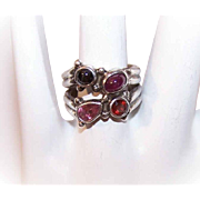 Vintage SAJEN Sterling Silver & Multi-Gem Ring - Garnet, Tourmaline, Black Star Sapphire & Ruby!