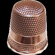 Sweet & Simple EDWARDIAN Era 10K Gold Thimble - Size 10!