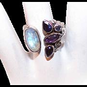 SAJEN Sterling Silver, Moonstone Quartz & Amethyst Ring!