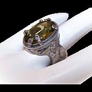 Vintage STERLING SILVER & Olive Green Glass Paste Ring!